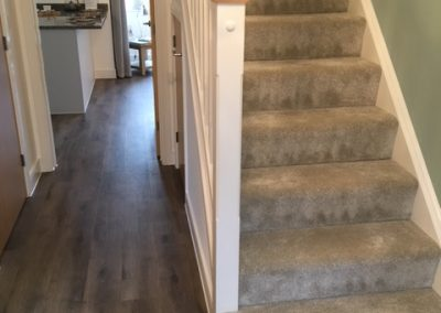 Stairs carpet and Hallway LVT fitted at Linden Homes Show Home Thornbury,Bristol